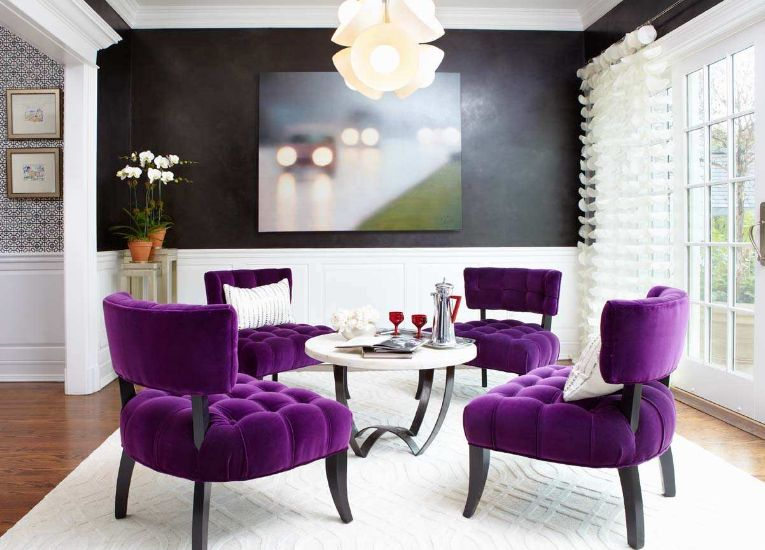 Low-coffee-table-chairs-in-tufted-violet